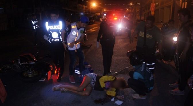 หนุ่ม-สาวซิ่งจยย. เจอด่านตรวจขับย้อนศรพุ่งชนชาวบ้าน-ตำรวจเจ็บ